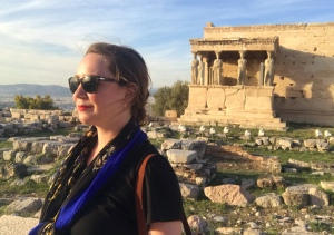 Taking a picture of myself alone in Greece at the Acropolis