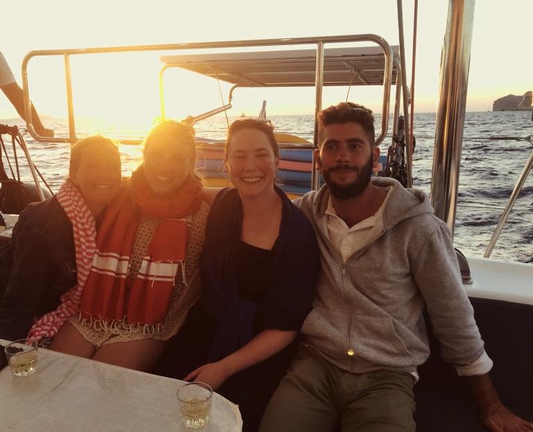 Solo female travel in santorini Greece