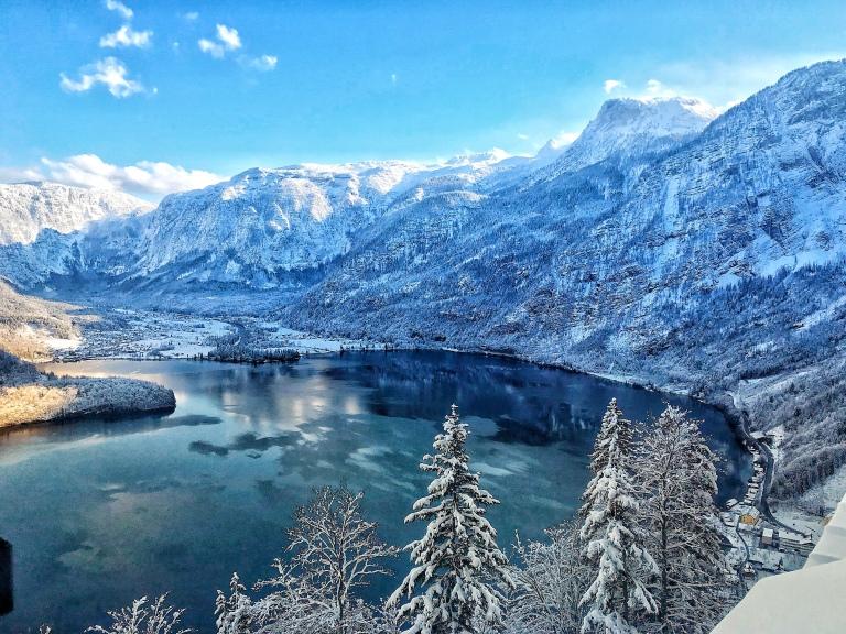 Hallstatt Austria and an alpine lake in the mountains