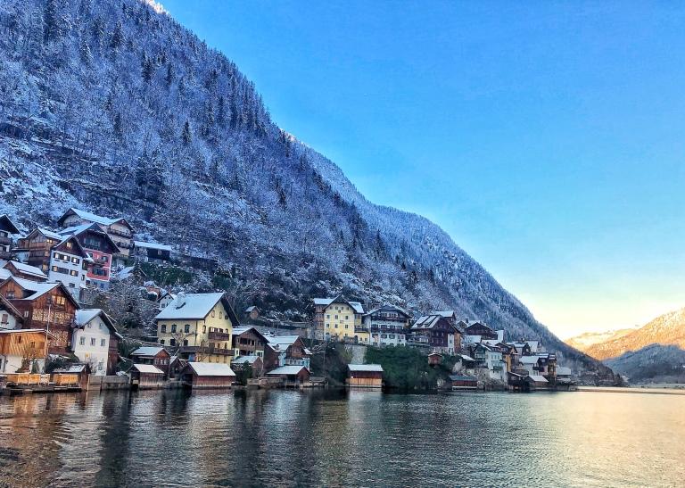 Hallstatt village in Austria in winter