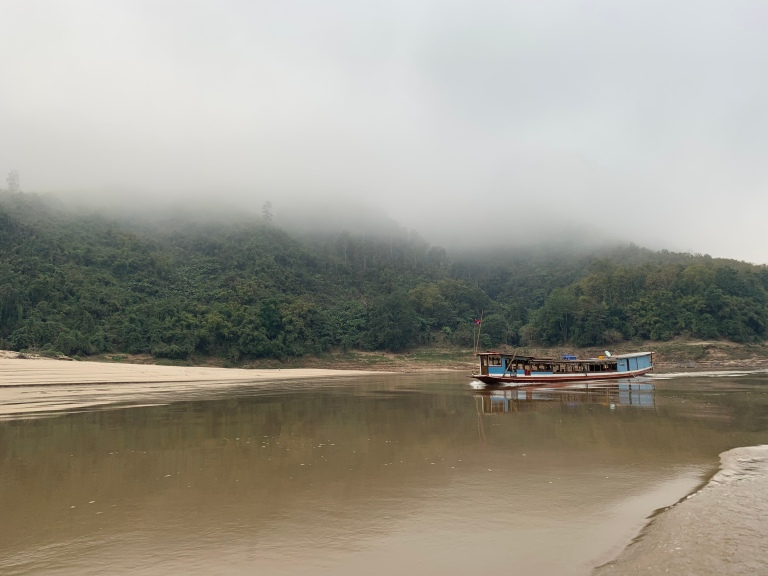 Boat on the Mekong River in Laos.