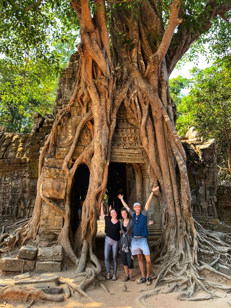 Travelers at Angkor temples in Siem Reap Cambodia travel friends