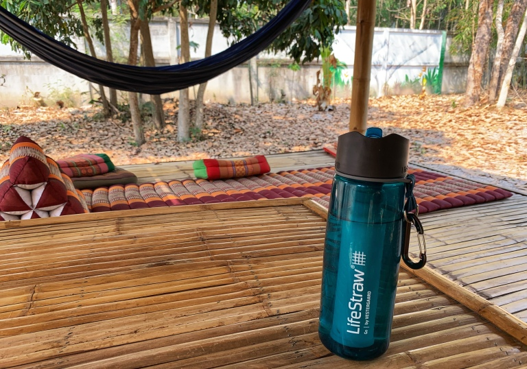 Life straw water bottle in Southeast Asia to reduce plastic use