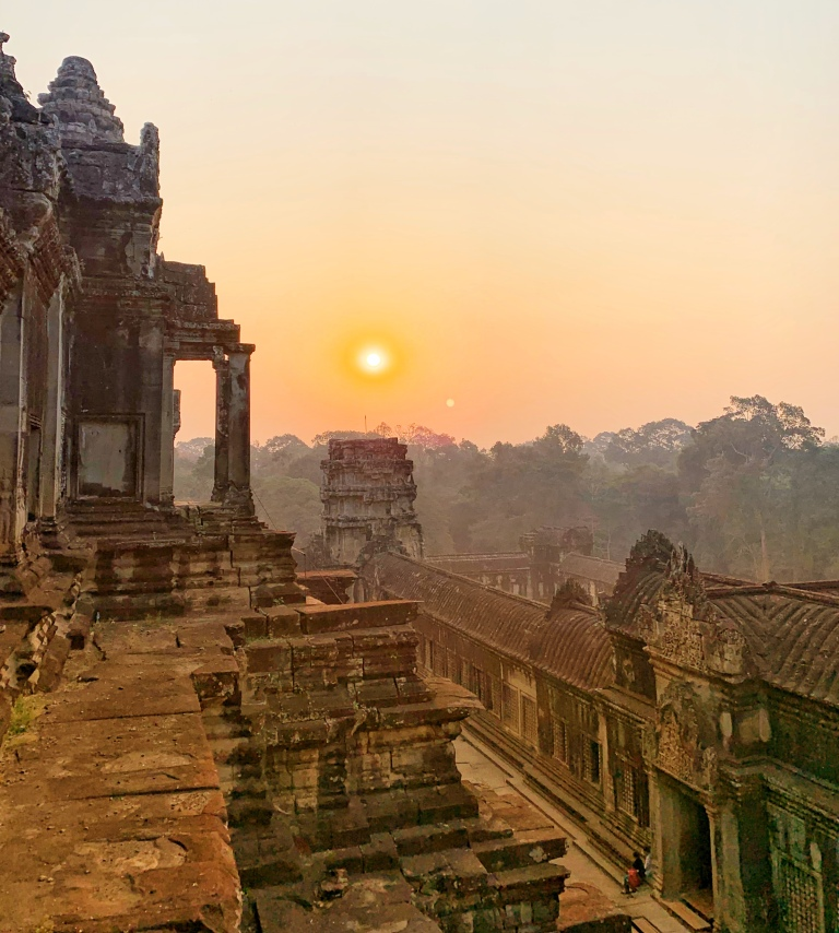 Sunrise over Angkor Wat ancient temples in Siem Reap Cambodia