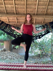 Solo female traveler doing yoga pose in Chiang Mai Thailand