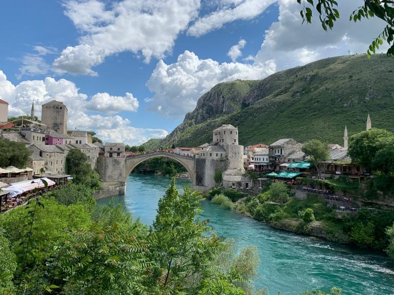 Mostar bridge in Bosnia Hercegovina solo travel
