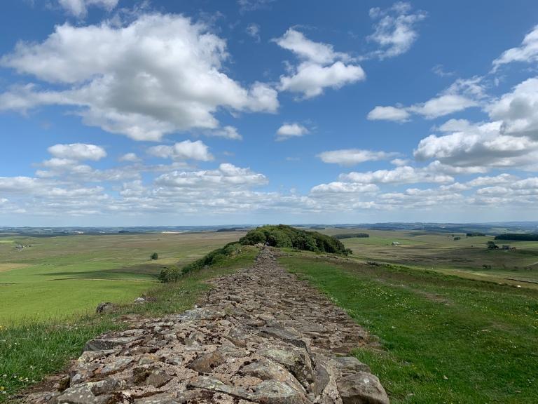 Ancient Roman emperor Hadrian's Wall in Britain
